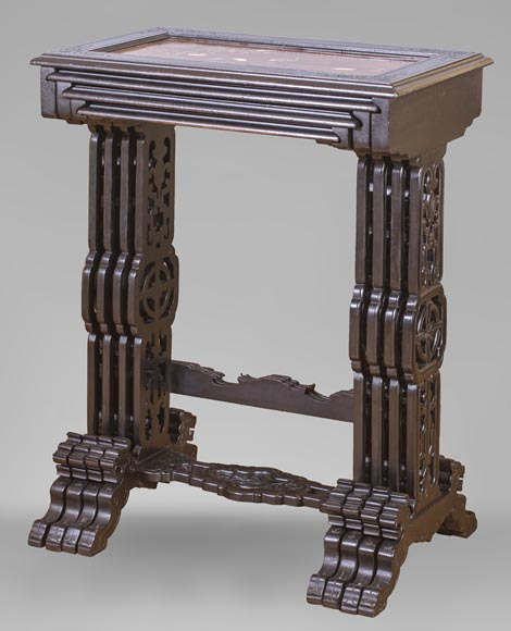 Japanese style nest of tables with metal marquetry decoration-1