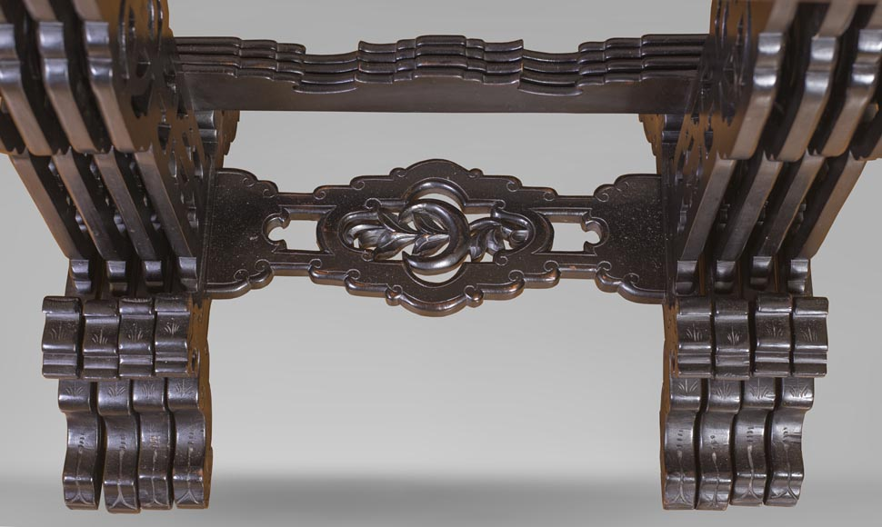 Japanese style nest of tables with metal marquetry decoration-2