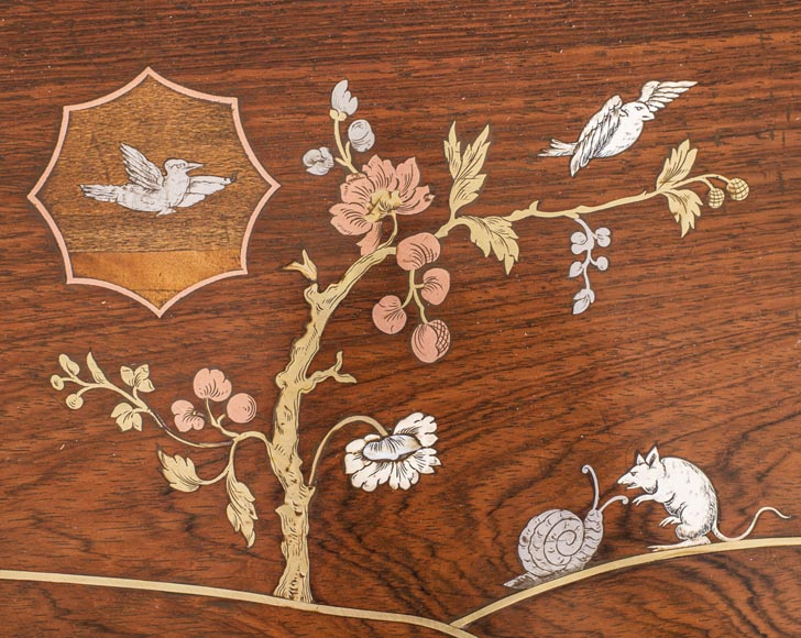 Japanese style nest of tables with metal marquetry decoration-7