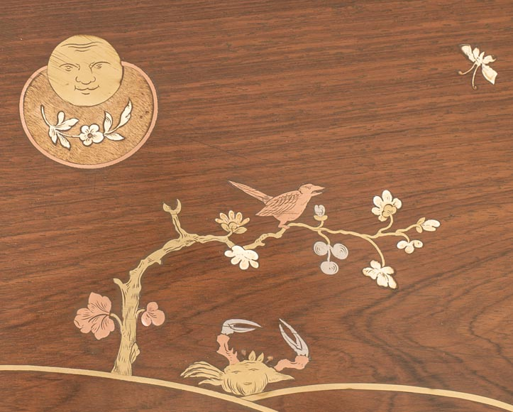 Japanese style nest of tables with metal marquetry decoration-9