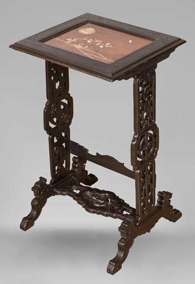 Japanese style nest of tables with metal marquetry decoration-11