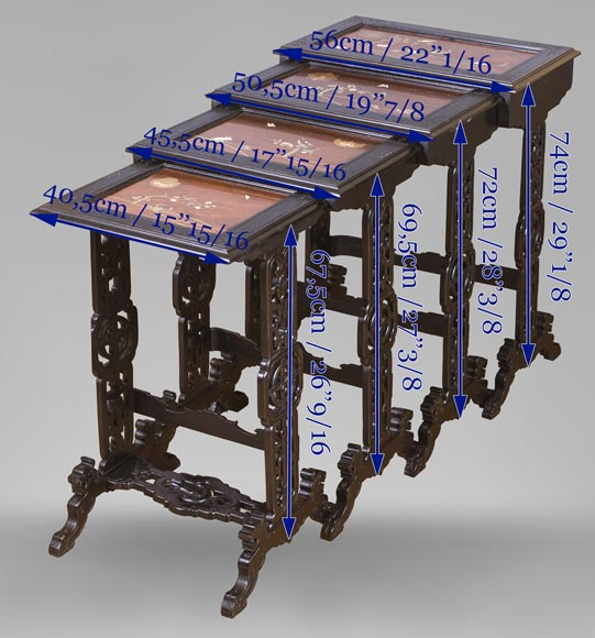 Japanese style nest of tables with metal marquetry decoration-12
