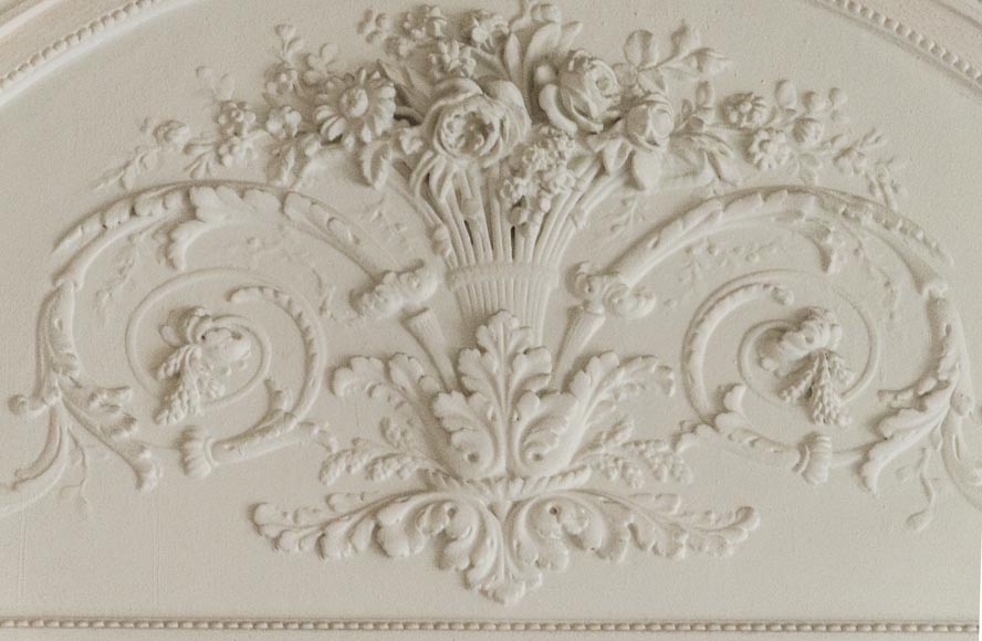 Large antique Louis XVI style overmantel with basket of flowers-4
