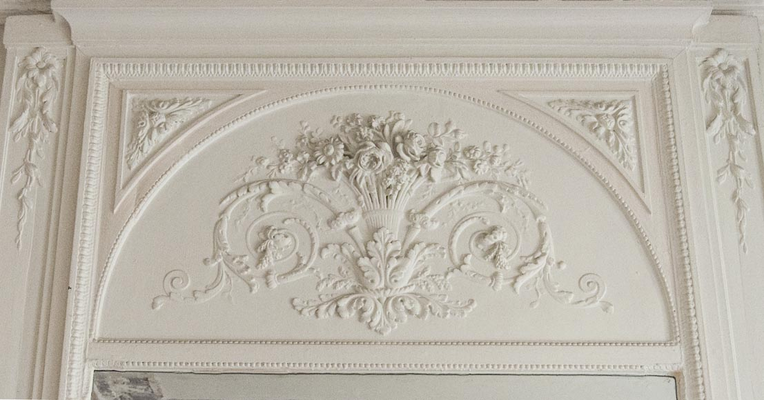 Large antique Louis XVI style overmantel with basket of flowers-6