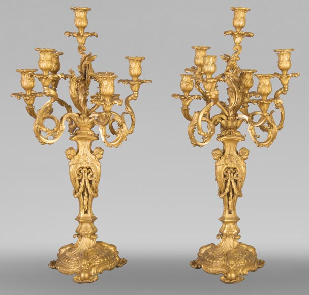 Pair of Louis XV style candelabra in gilt bronze-0