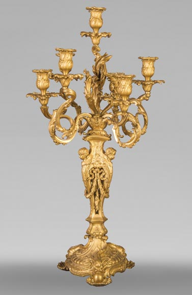 Pair of Louis XV style candelabra in gilt bronze-1