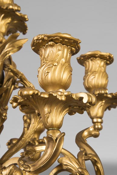 Pair of Louis XV style candelabra in gilt bronze-3