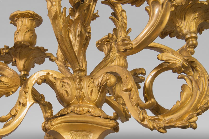 Pair of Louis XV style candelabra in gilt bronze-4