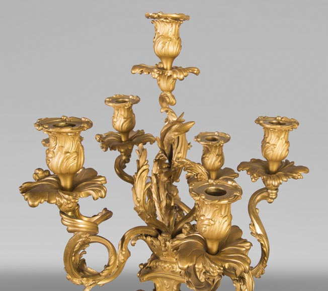 Pair of Louis XV style candelabra in gilt bronze-6