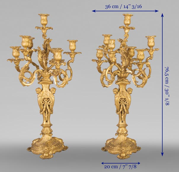 Pair of Louis XV style candelabra in gilt bronze-8