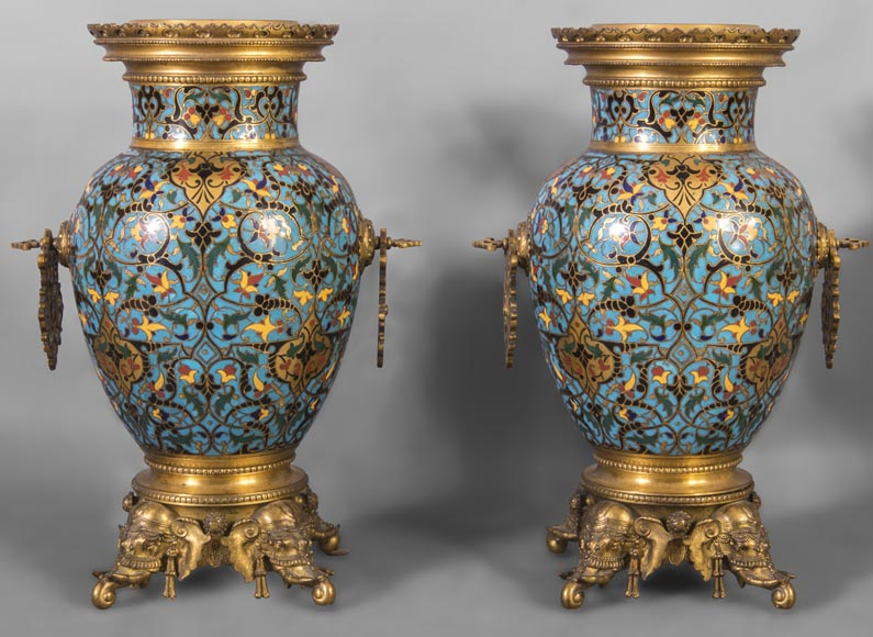 Beautiful pair of Orientalist style vases in cloisonné enamels after a model by Edouard Lièvre-0