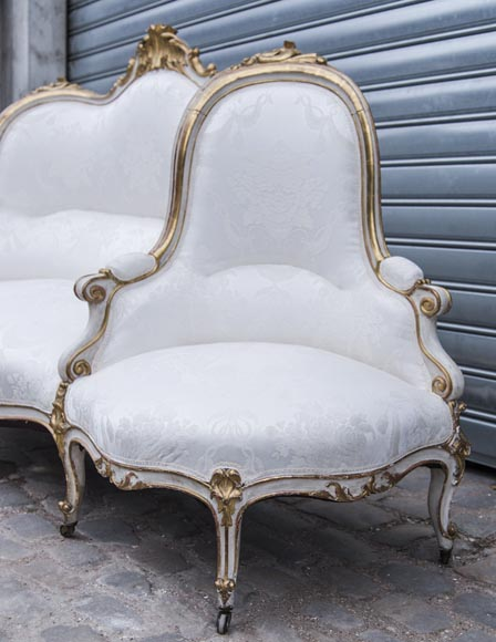 A large Louis XV style bench made out of gilded wood-5