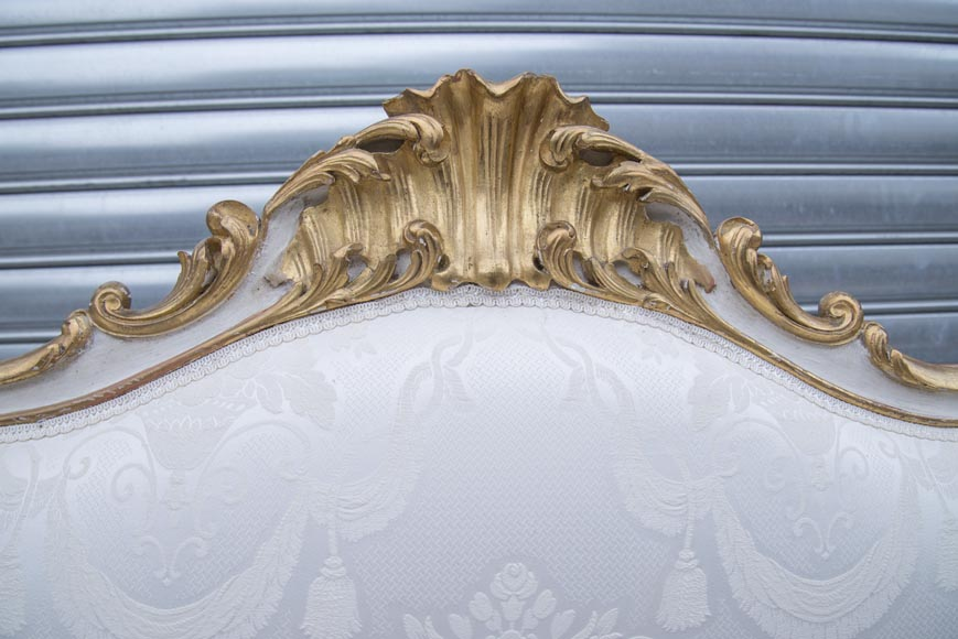 A large Louis XV style bench made out of gilded wood-11