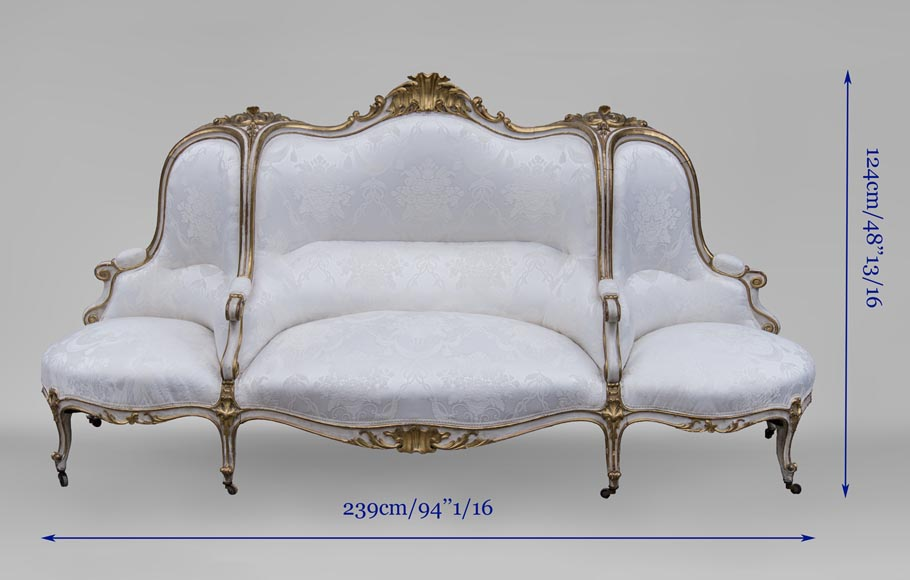 A large Louis XV style bench made out of gilded wood-15