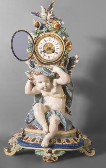 Polychrome earthenware pendulum, Cupid supporting the dial-1