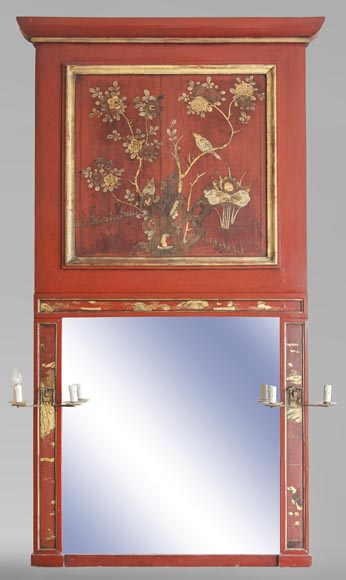 An antique red laquered wooden overmantel with chinese decoration-0