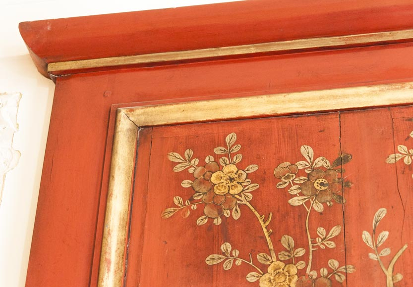 An antique red laquered wooden overmantel with chinese decoration-5
