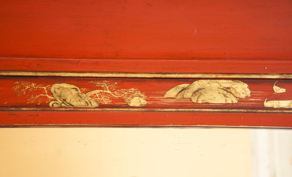 An antique red laquered wooden overmantel with chinese decoration-6