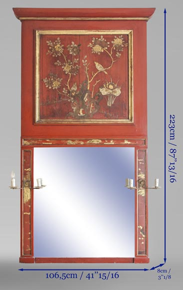 An antique red laquered wooden overmantel with chinese decoration-8