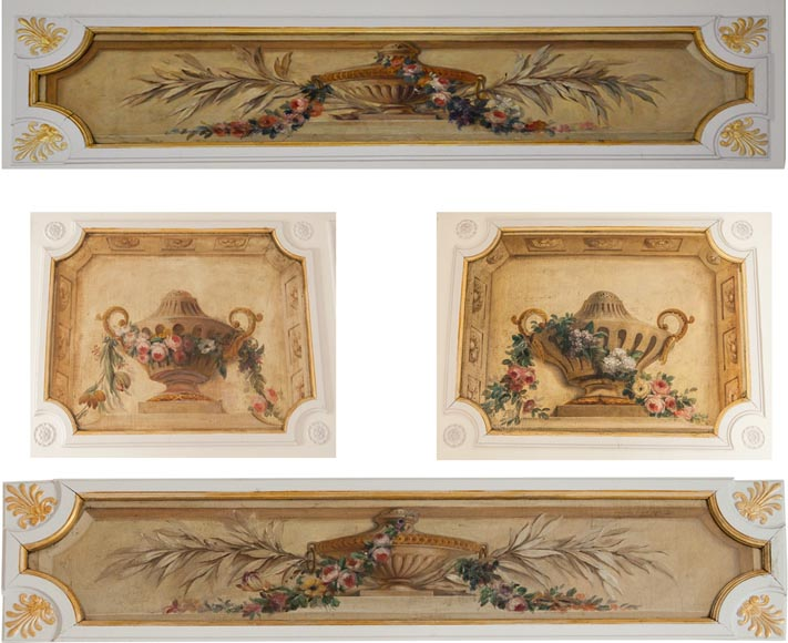 Set of painted wood panels decorated with vases and garlands of flowers.-0