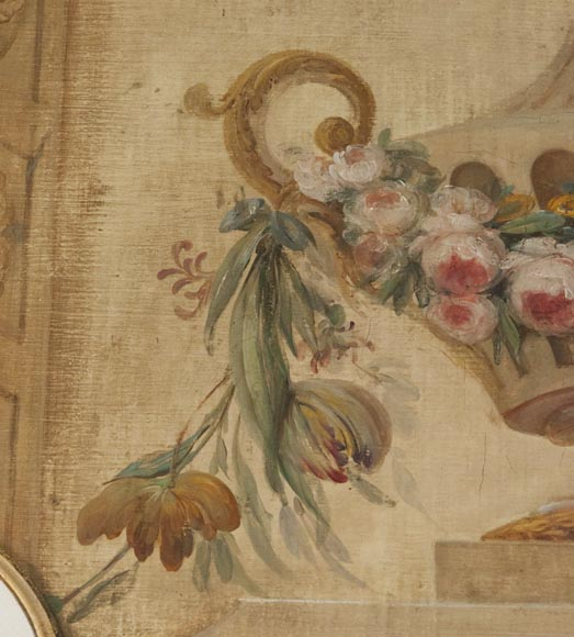 Set of painted wood panels decorated with vases and garlands of flowers.-3