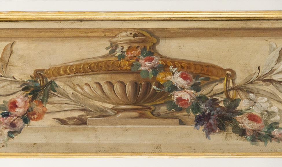 Set of painted wood panels decorated with vases and garlands of flowers.-7