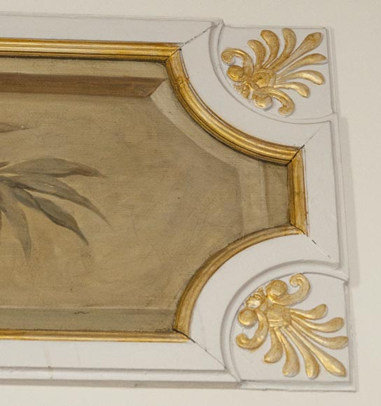 Set of painted wood panels decorated with vases and garlands of flowers.-8