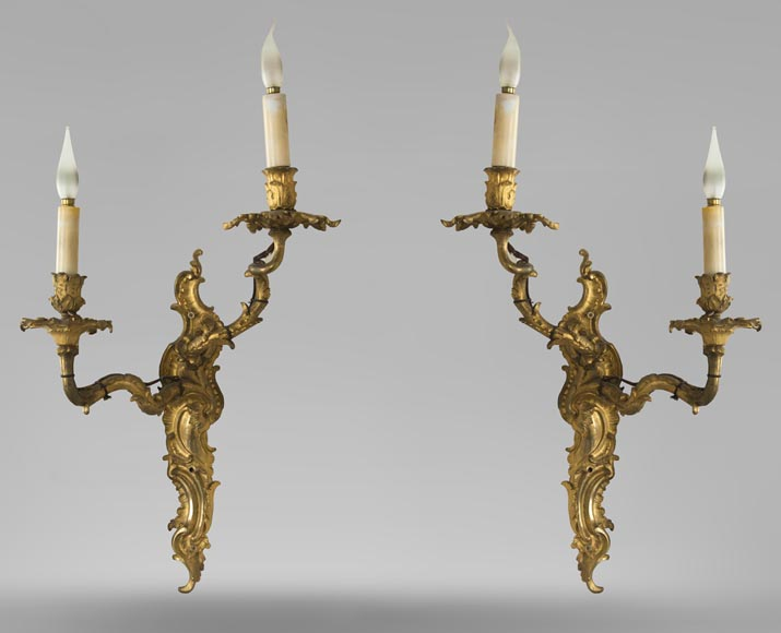 Pair of Louis XV gilded bronze wall lights-0