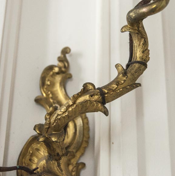 Pair of Louis XV gilded bronze wall lights-3