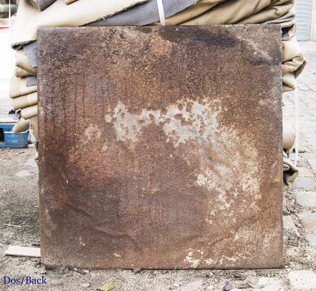 An antique cast iron fireback, with mythological decoration-7