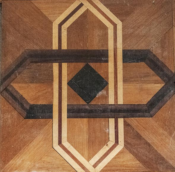Antique parquet flooring in the Napoleon III style, inlaid with different types of wood, with a surface area of 35 m2-1