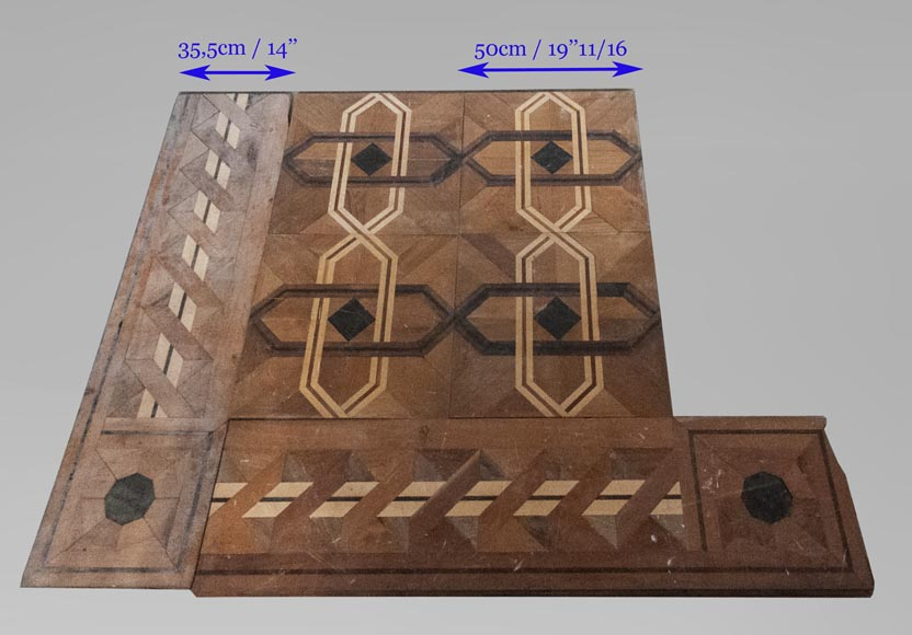 Antique parquet flooring in the Napoleon III style, inlaid with different types of wood, with a surface area of 35 m2-5