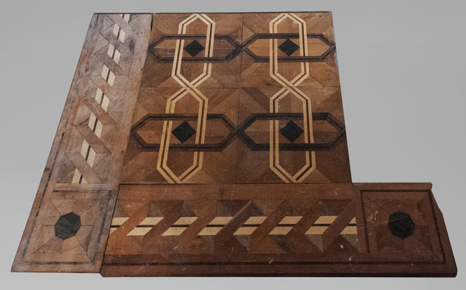 Old Napoleon III style parquet flooring, made of marquetry of different wood species-0