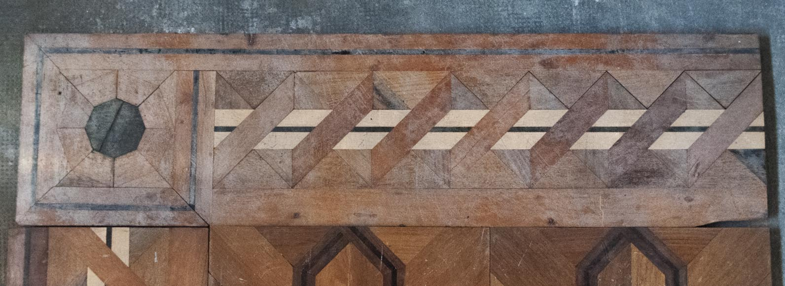 Old Napoleon III style parquet flooring, made of marquetry of different wood species-2
