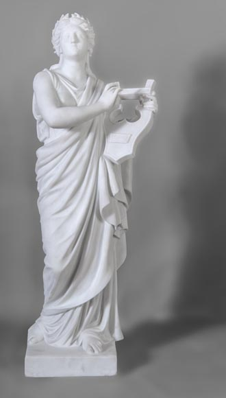 Eumone BARATTA - Statue made out of Carrara Statuary marble, reprsenting a muse with a lyre-0
