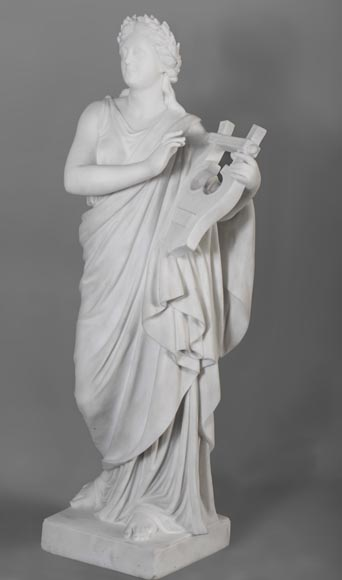 Eumone BARATTA - Statue made out of Carrara Statuary marble, reprsenting a muse with a lyre-1