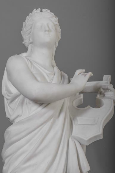 Eumone BARATTA - Statue made out of Carrara Statuary marble, reprsenting a muse with a lyre-2