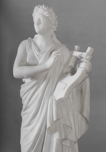 Eumone BARATTA - Statue made out of Carrara Statuary marble, reprsenting a muse with a lyre-3