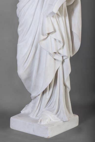 Eumone BARATTA - Statue made out of Carrara Statuary marble, reprsenting a muse with a lyre-4