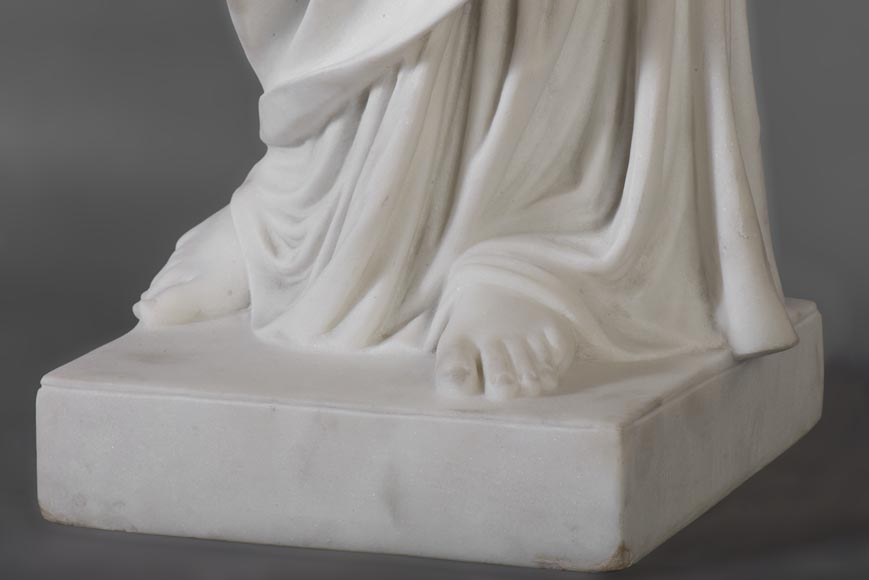 Eumone BARATTA - Statue made out of Carrara Statuary marble, reprsenting a muse with a lyre-6