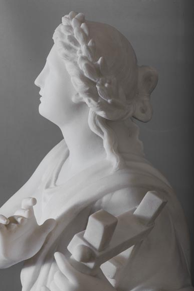 Eumone BARATTA - Statue made out of Carrara Statuary marble, reprsenting a muse with a lyre-9