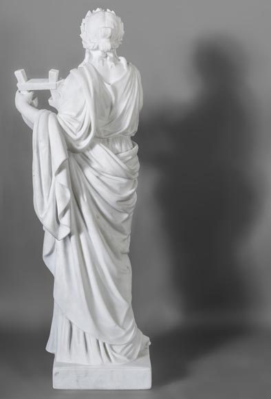 Eumone BARATTA - Statue made out of Carrara Statuary marble, reprsenting a muse with a lyre-10