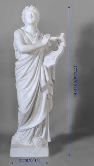 Eumone BARATTA - Statue made out of Carrara Statuary marble, reprsenting a muse with a lyre-12