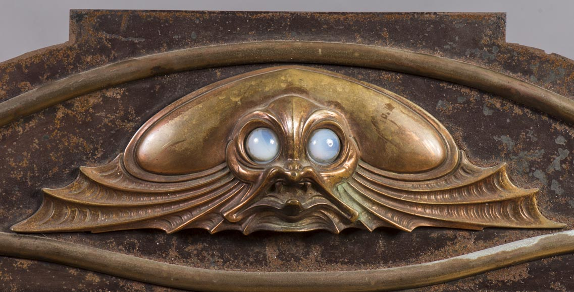 Art nouveau style brass fireplace interior, with fish decoration-1