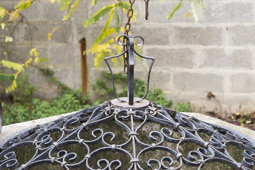 Stone well, with its base, its cover and its wrought iron frame-3