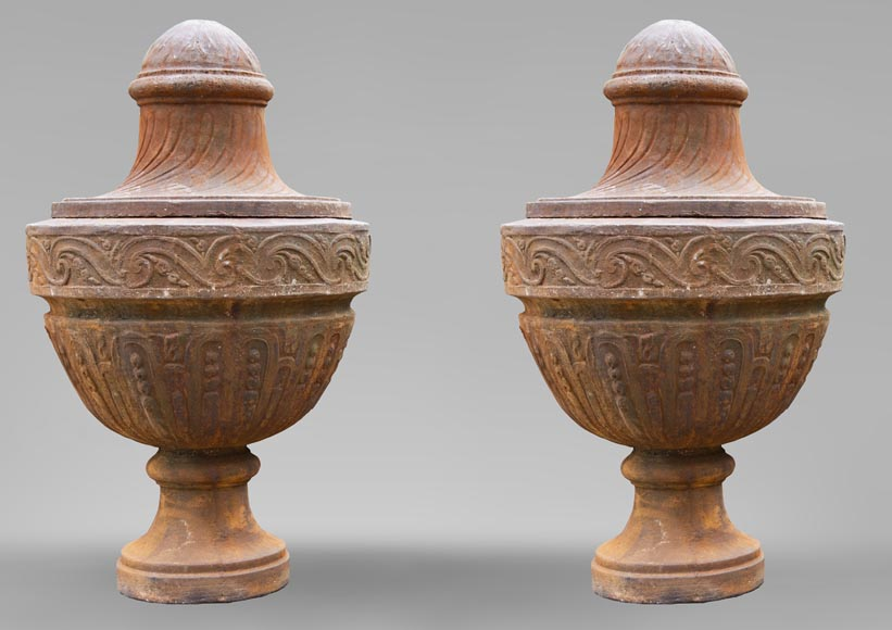 A pair of Louis XVI period vases made out of cast iron-0