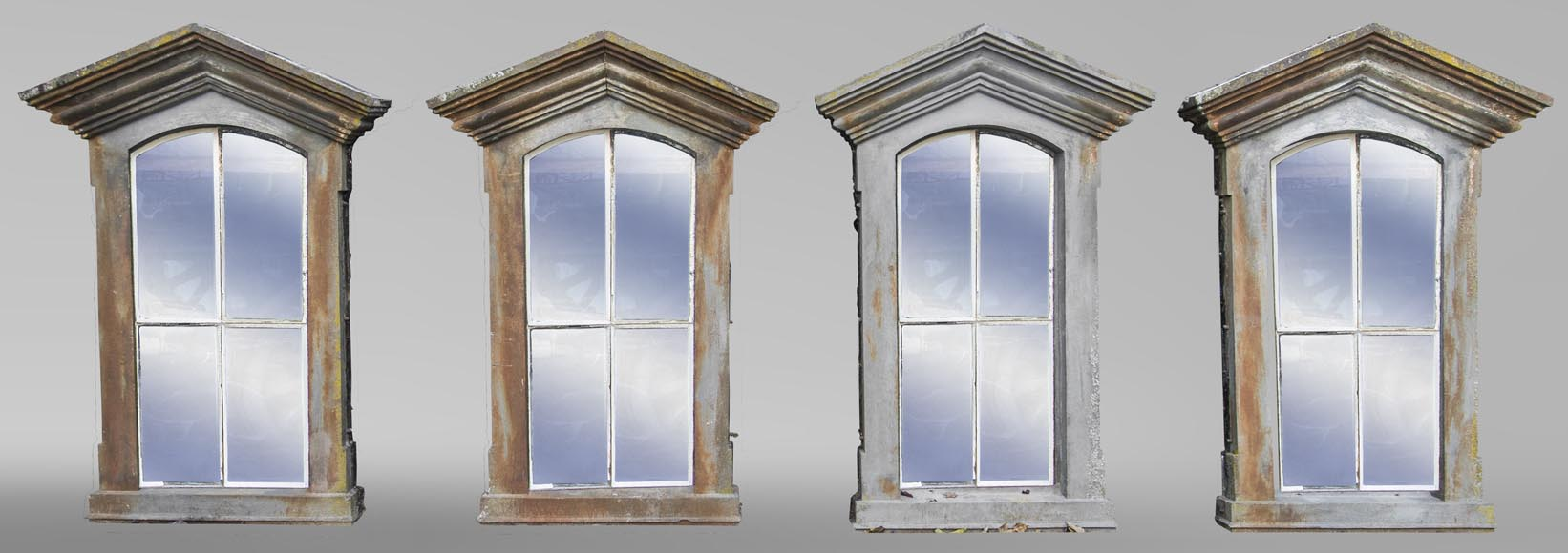 Set of four cast iron window frames-0