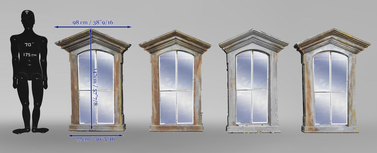 Set of four cast iron window frames-8