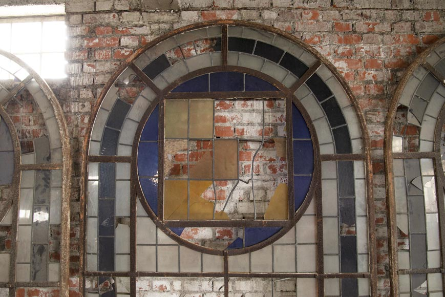 Important set of 20th century Art Deco style stained glass windows-4