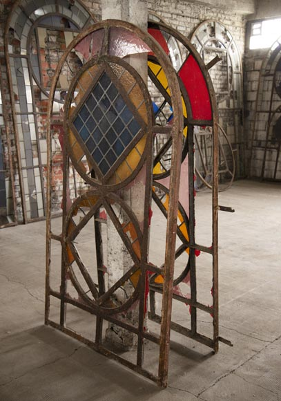 Important set of 20th century Art Deco style stained glass windows-8